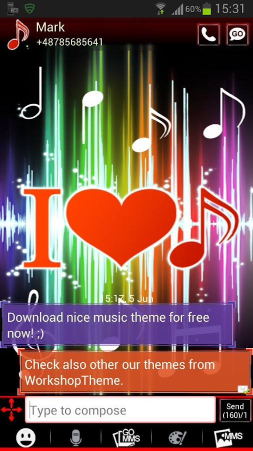 GO SMS Pro Theme 4 music- screenshot