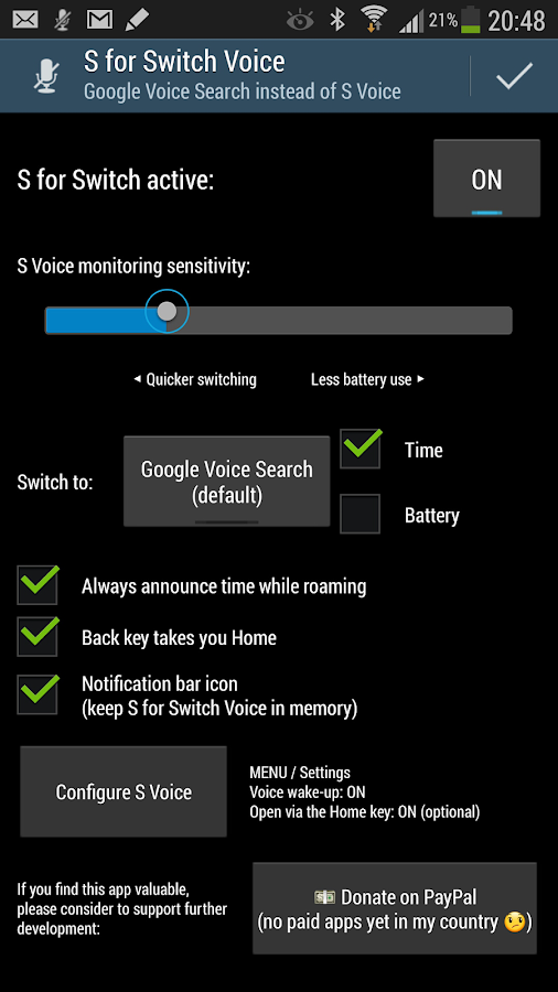 S for Switch Voice 2.11 - screenshot