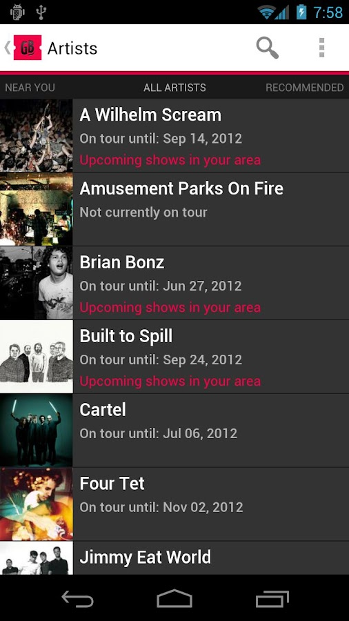 Gigbeat - Concerts- screenshot