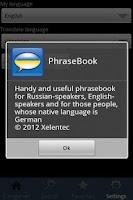 Screenshot of PhraseBook Lite