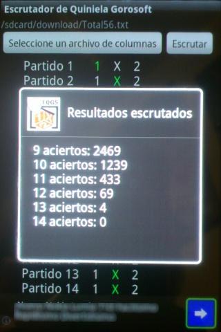 Escrutador d Quiniela GoroSoft - screenshot