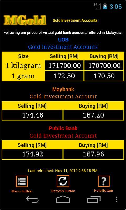 Malaysia Gold Price - screenshot