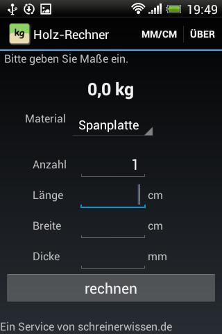 Holz-Rechner - screenshot