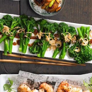 Thin-stemmed Broccoli With Hoisin Sauce & Fried Shallots.