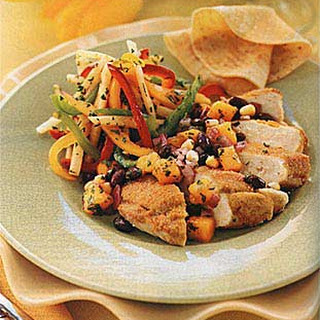 Chicken Breasts with Cornmeal-Coriander Crust and Black Bean-Mango Salsa