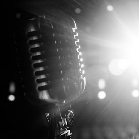 Let Your Voice Be Heard by Jen Weller - Black & White Objects & Still Life ( greyscale, microphone, black and white, performance, theater, tnertainment )