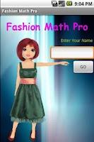 Screenshot of Fashion Math Pro