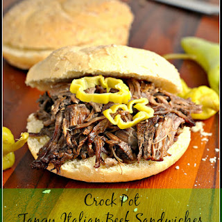 Crock Pot Tangy Italian Beef Sandwiches.