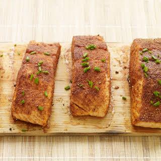 Spice Rubbed Cedar Plank Salmon.