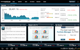 Screenshot of moneycontrol for Tablet