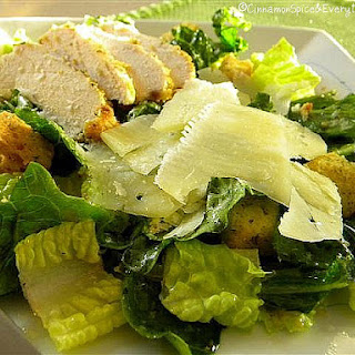 Caesar Salad with Parmesan Chicken.