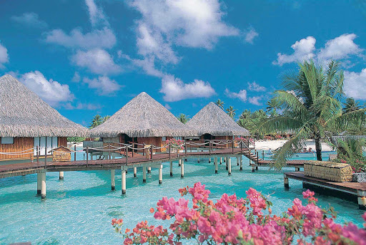 Overwater bungalows at the InterContinental Bora Bora Le Moana Resort.