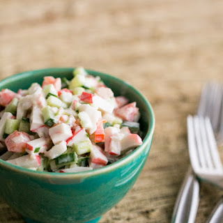 Crab Salad with Cucumber and Tomato.