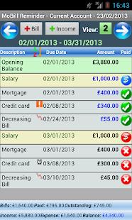 MoBill Budget and Reminder - screenshot thumbnail