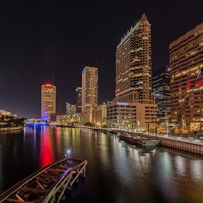 Tampa Riverwalk by Lynn Wiezycki - City,  Street & Park  Skylines ( skyline, hillsborough river, tampa, reflections, night )