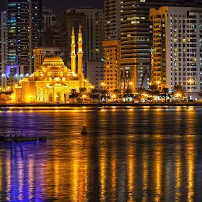 Al Noor Masjid by Abid Malik - Buildings & Architecture Public & Historical ( water, lights, building, reflection, mosque, sharjah )