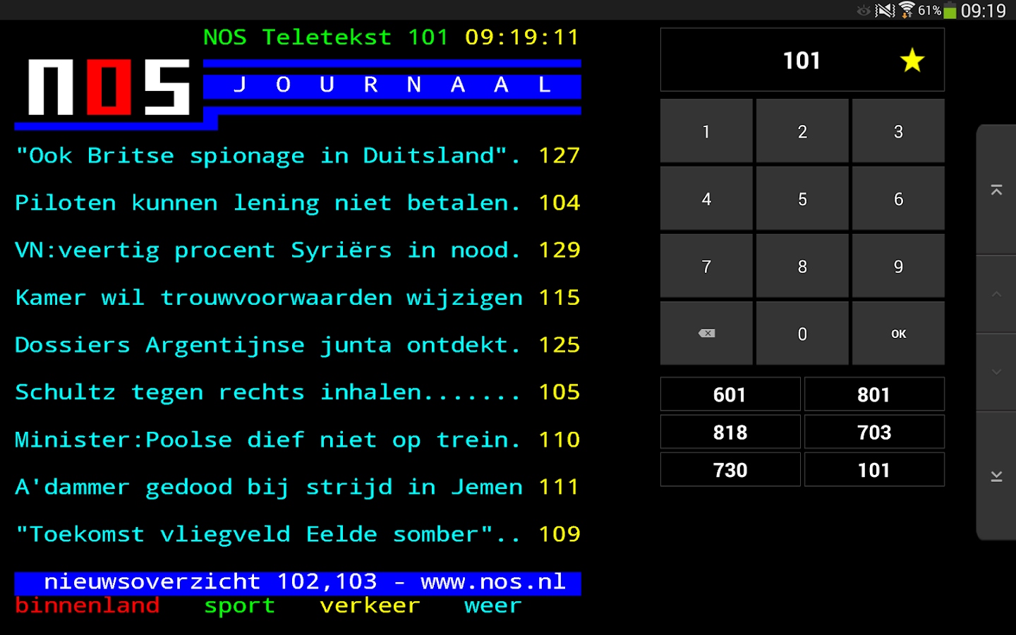 NOS Teletekst - screenshot