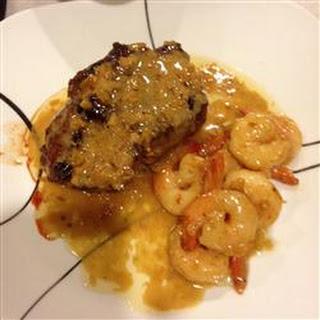 Filet Mignon with Garlic Shrimp Cream Sauce.