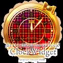 ブリティッシュな赤チェック柄時計ウィジェット icon
