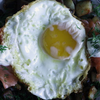 Smoked Salmon and Dill Hash with Fried Eggs.