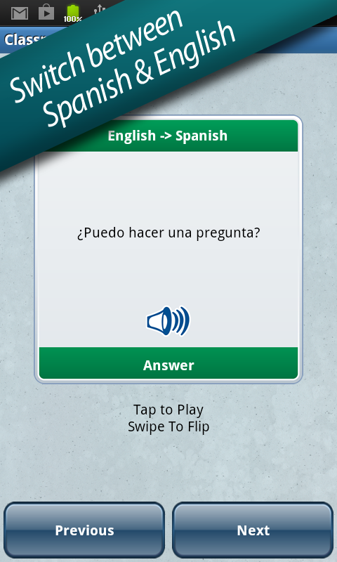 Spanish in a Flash - screenshot