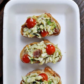 Avocado Crab Crostini.