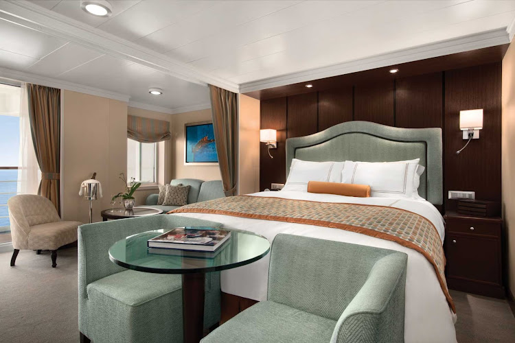 Luxuriate in the exquisite Penthouse Suite of Oceania Riviera during your travels.
