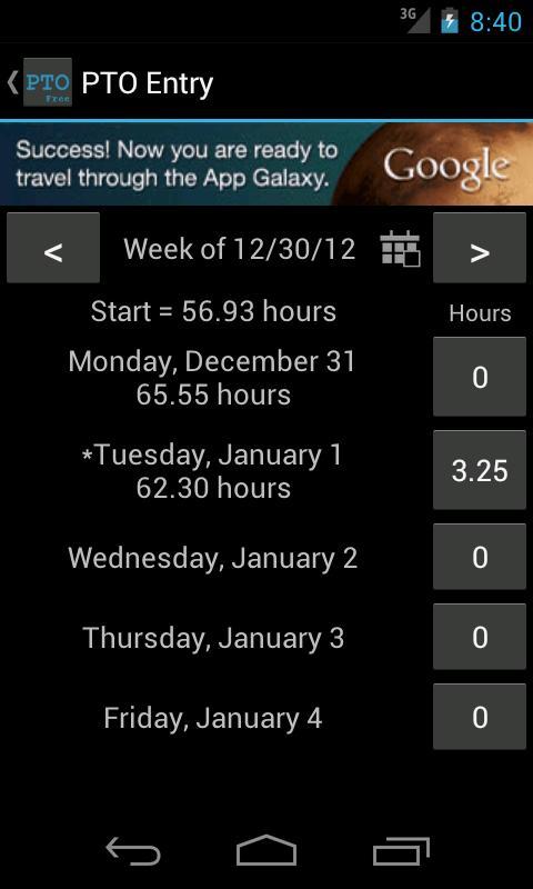 PTO Tracker Free- screenshot