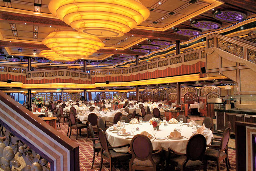 Carnival-Freedom-Posh-dining-hall - Dine in elegance at the Posh dining hall, one of Carnival Freedom's main dining rooms.