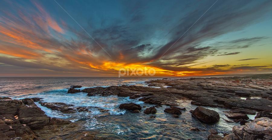 Splash of Fire by Clive Wright - Landscapes Sunsets & Sunrises ( water, sea, ocean, seascape, landscape )