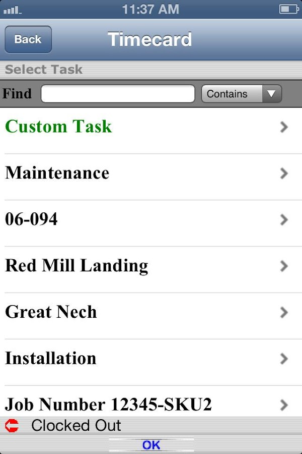 Timecard GPS- screenshot