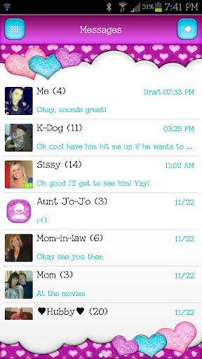 GO SMS - Sparkling Hearts 2