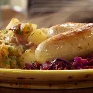 Braised bockwurst and warm vegetable-hard cider 'kraut with German style potatoes.