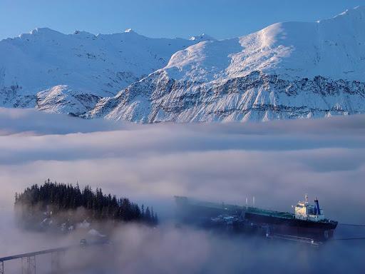 tanker-mist-Valdez-Alaska - A tanker near Valdez, Alaska, swathed in mist.