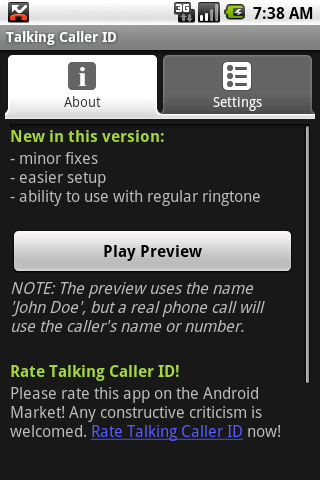 Talking Caller ID - screenshot