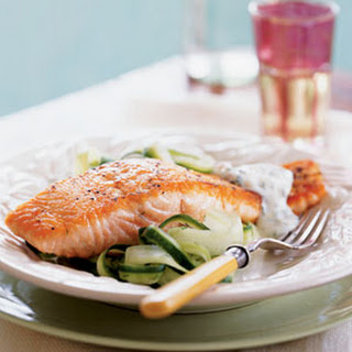 Salmon with Cucumber Salad and Dill Sauce.