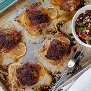 Spice Rubbed Chicken Thighs with Black Bean & Corn Salsa