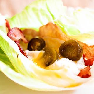Bacon, Poached Egg, & Jalapeno Lettuce Wraps.