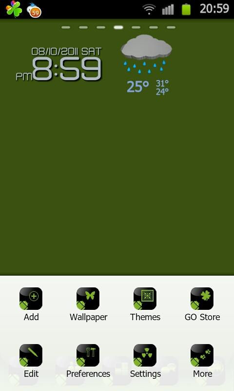 BlackGreen Go launcherEX Theme - screenshot