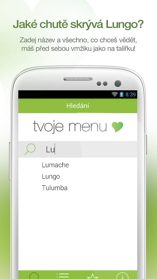 Tvoje menu- screenshot