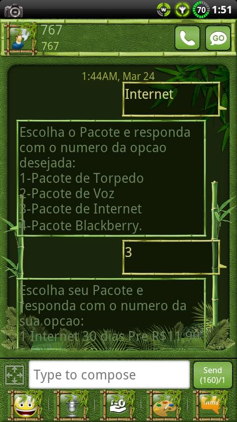 Bamboo GO SMS Theme - screenshot