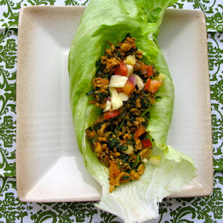 Mexican Style Sweet and Spicy Turkey Lettuce Wraps with Pineapple Apple Salsa.