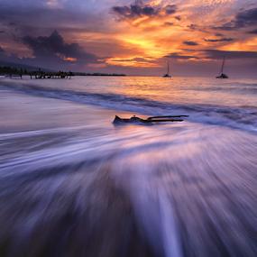 Dragged Ashore by Kadek Jaya - Landscapes Waterscapes ( sky, wave, beach, motion, sun )