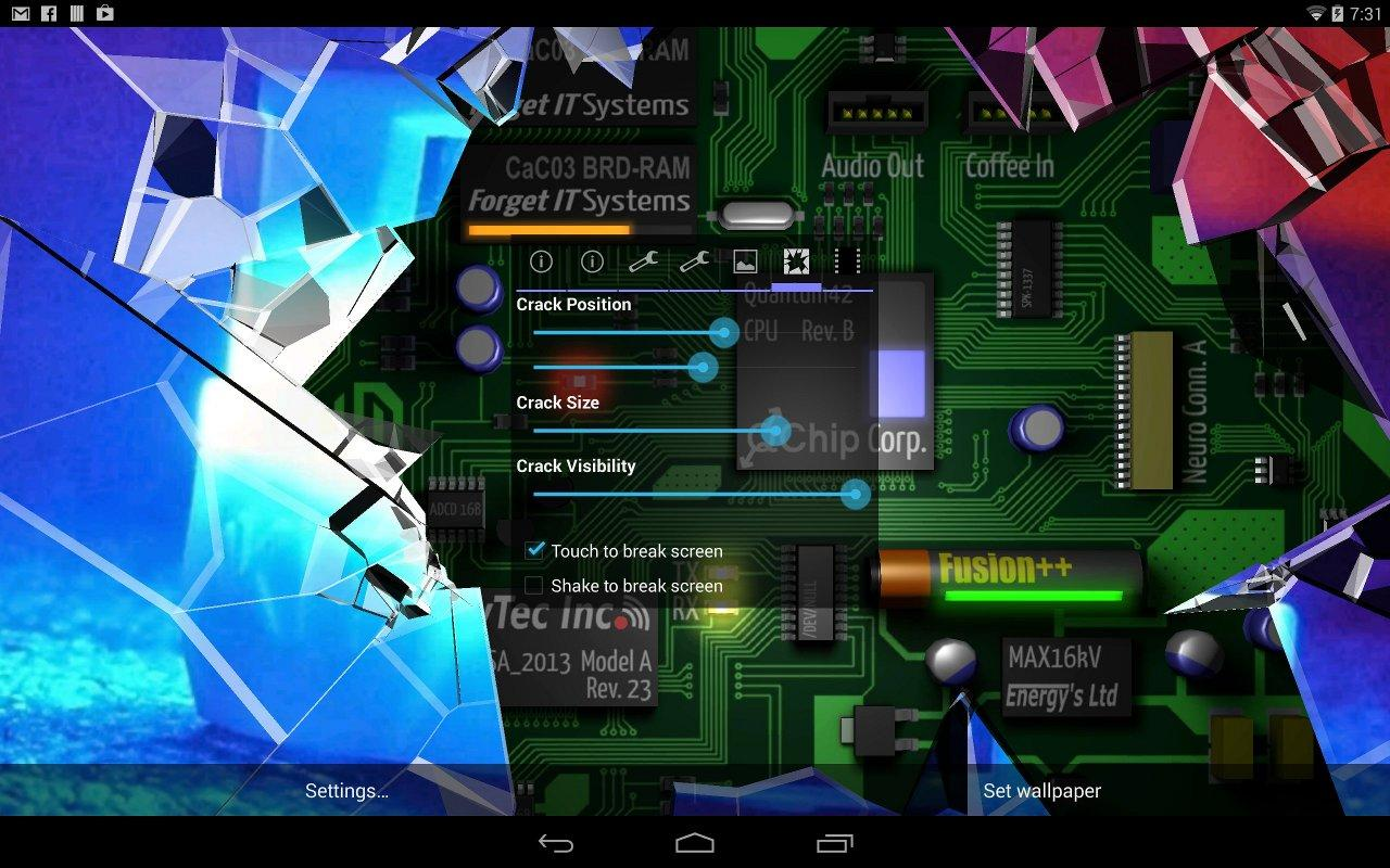 Cracked Screen Gyro 3D PRO Parallax Wallpaper HD Android Apps On