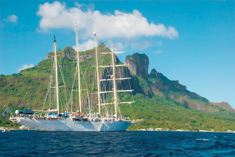 Star Flyer anchored in Bora Bora during a South Seas sailing.