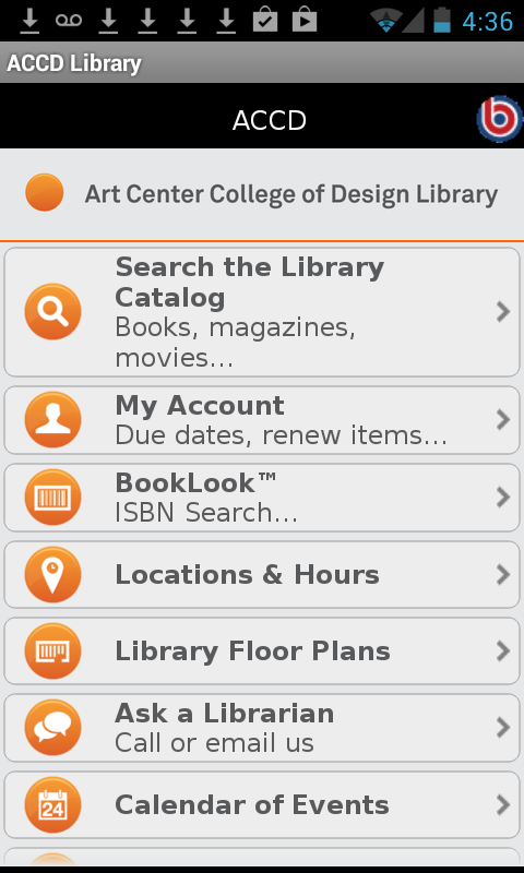Art Center Library Mobile - screenshot