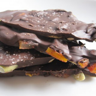 Dark Chocolate Bark with Chile-Spiced Mangos and Pepitas.