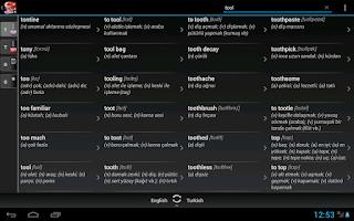 Screenshot of Free Dict Turkish English
