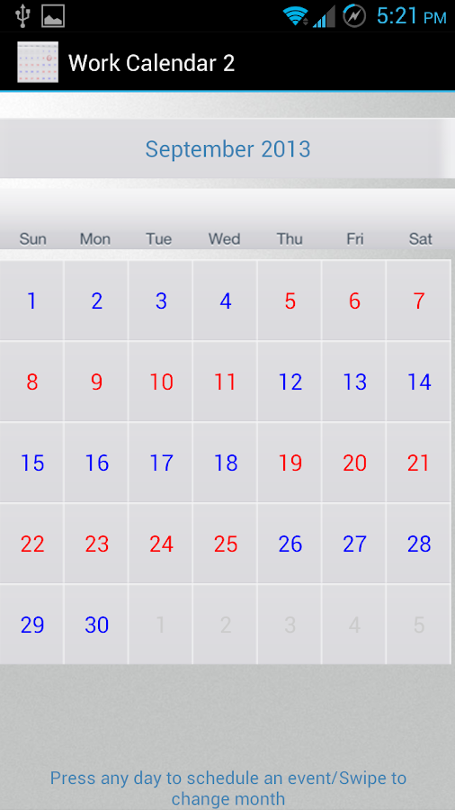 Work Calendar 2 (for Penford)- screenshot