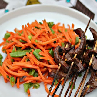 Vietnamese Sirloin Skewers With Spicy Carrot Salad.